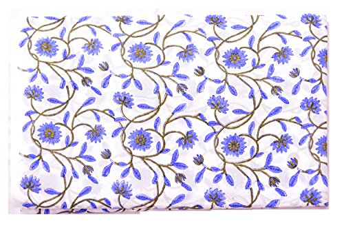 Handicraft -Palace Indian Hand Block Print Cotton Fabric Natural Printed Sanganeri Vintage Floral Fabric Apparel Craft Fabric Sewing (White) (5 Yard) ()