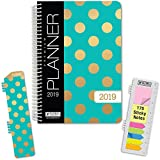 "HARDCOVER Calendar Year 2019 Planner: (November 2018 Through December 2019) 5.5""x8"" Daily Weekly Monthly Planner Yearly Agenda. Bonus Bookmark, Pocket Folder and Sticky Note Set (Gold Dots Turquoise)"