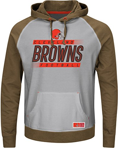 Cleveland Browns Heather - NFL Cleveland Browns Men's Crossbar Program Fleece Long Sleeve Pullover Hoodie, Steel Heather/Classic Brown/Fire Red, Large