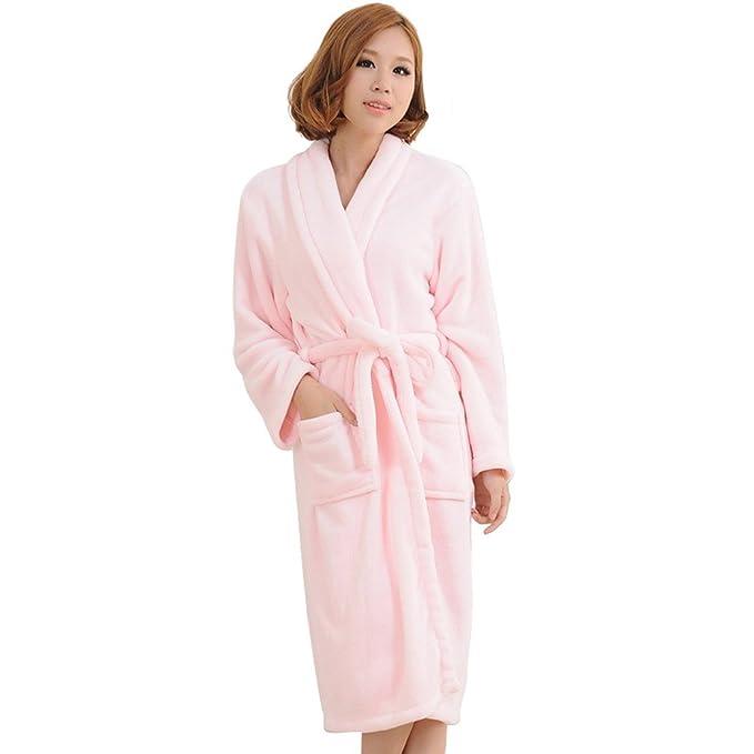 Avitalk - Albornoz Batas Polares Largas de Baño Invierno con cinturón para Mujer - L - rosa clara: Amazon.es: Ropa y accesorios