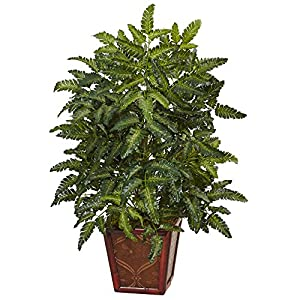 Nearly Natural Bracken Artificial Fern in Wooden Planter Green 74