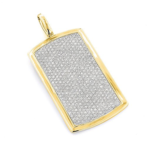 Luxurman 14K Solid Dog Tag Pendant with Natural 1.9 Ctw Prong Set Diamonds (Yellow Gold) ()