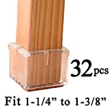 Chair Leg Protectors for Hardwood Floors MelonBoat Chair Leg Floor Protectors with Felt Furniture Pads, Chair Glides Feet Caps, 32 Pack, Fit Square Length 1-1/4 to 1-3/8 Inch (3.2-3.6cm)