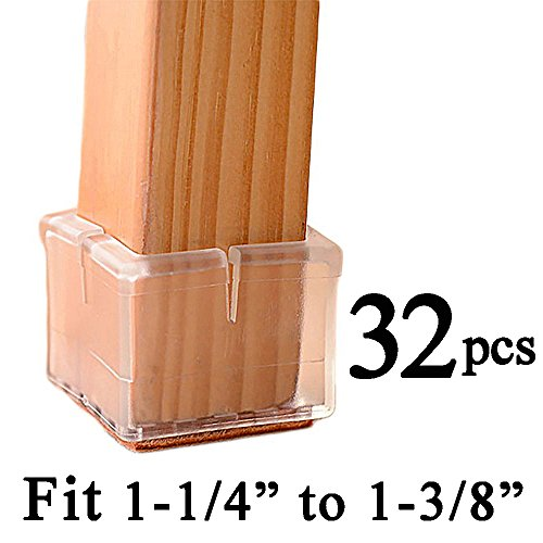 Chair Foot - MelonBoat Chair Leg Floor Protectors with Felt Furniture Pads, Chair Glides Feet Caps, 32 Pack, Fit Square Length 1-1/4 to 1-3/8 Inch (3.2-3.6cm)
