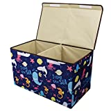 Softcloudy Collapsible Storage Box Toys Organizer Lid Kids Playroom, Baby Clothing, Children Books, Stuffed Animal, Gift Baskets Large Toy Chest Blue