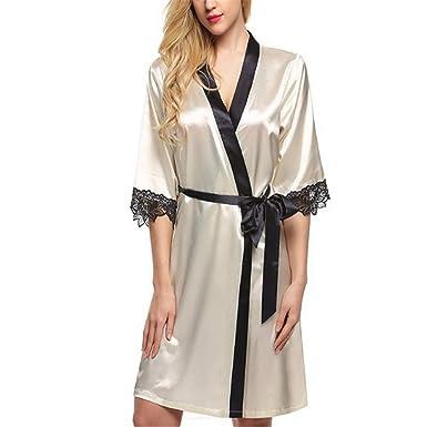 Mujer Kimono Satén Pijamas Elegantes Bata Satén Camisones ...