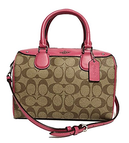 Coach Signature Mini Bennett Crossbody Satchel (SV/Khaki/Magenta) by Coach