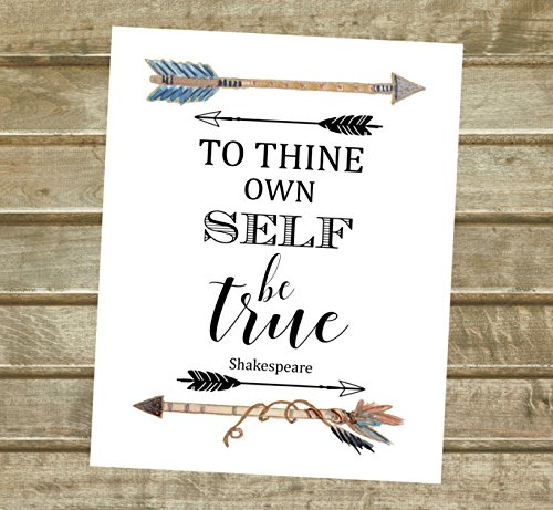 To Thine Own Self Be True, William Shakespeare Quote Art Print, Watercolor Arrows Wall Art, Unframed 8