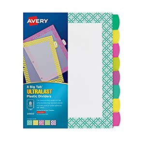 avery ultralast big tab plastic dividers 8 tabs 1 set assorted designs 24903. Black Bedroom Furniture Sets. Home Design Ideas