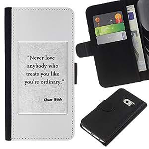 KingStore / Leather Etui en cuir / Samsung Galaxy S6 EDGE / Writer affiche de citation texte