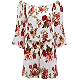 Lock and Love WRJ1610 Womens 3/4 Sleeve Floral Printed Off Shoulder Romper S White