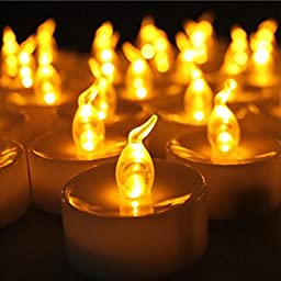 Flameless Candles, AGPtek 100PCS LED Flickering Flashing Tea lights, Battery Operated For Wedding Party Christmas Home Decoration - Amber Yellow