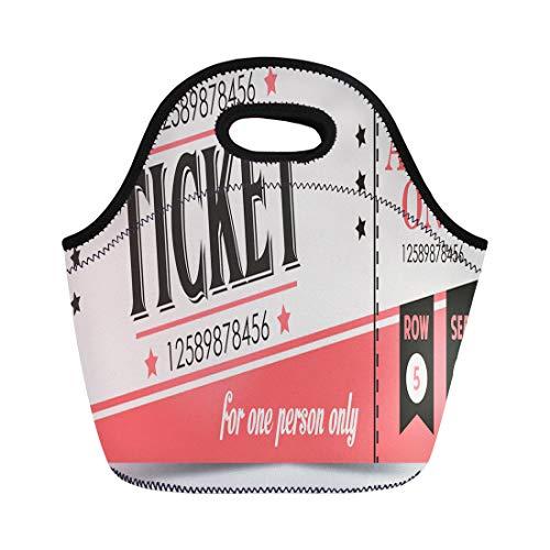 Semtomn Lunch Bags Carnival Admit Retro Ticket One Admission Amusement Badge Bar Neoprene Lunch Bag Lunchbox Tote Bag Portable Picnic Bag Cooler Bag