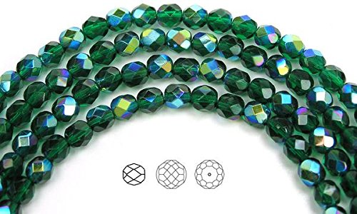 - 6mm (68 beads) Medium Emerald AB coated, Czech Fire Polished Round Faceted Glass Beads, 16 inch strand