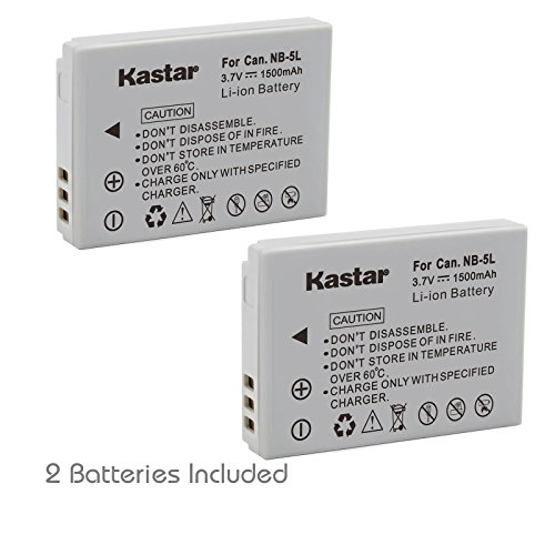 Kastar 2 Pack Compatible NB-5L Battery for Canon Powershot SX-Series SX200 IS / SX210 IS / SX220 HS / SX230 HS, IXUS-Series IXUS 800 IS, PowerShot SD-Series ELPH SD700 IS, PowerShot S100 Cameras