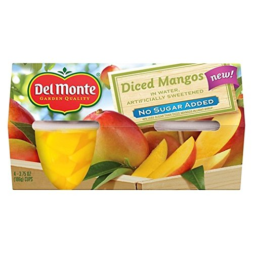 Del Monte No Sugar Added Diced Mangos Fruit Cups 3.75 oz 4 ct ( total (Mango Diced)