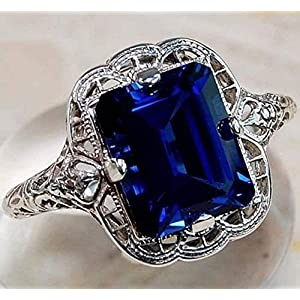 Huge Natural 3.5Ct Tanzanite 925 Silver Ring Women Wedding Engagement Size(6-10)