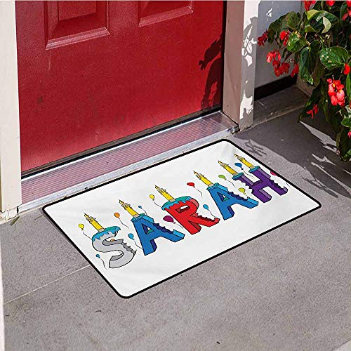 Jinguizi Sarah Commercial Grade Entrance mat Celebratory Festive Birthday Girl Name Lettering with Colorful Letters and Balloons for entrances garages patios W47.2 x L60 Inch Multicolor