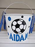 Personalized 5 quart Easter pail- soccer ball - Easter basket
