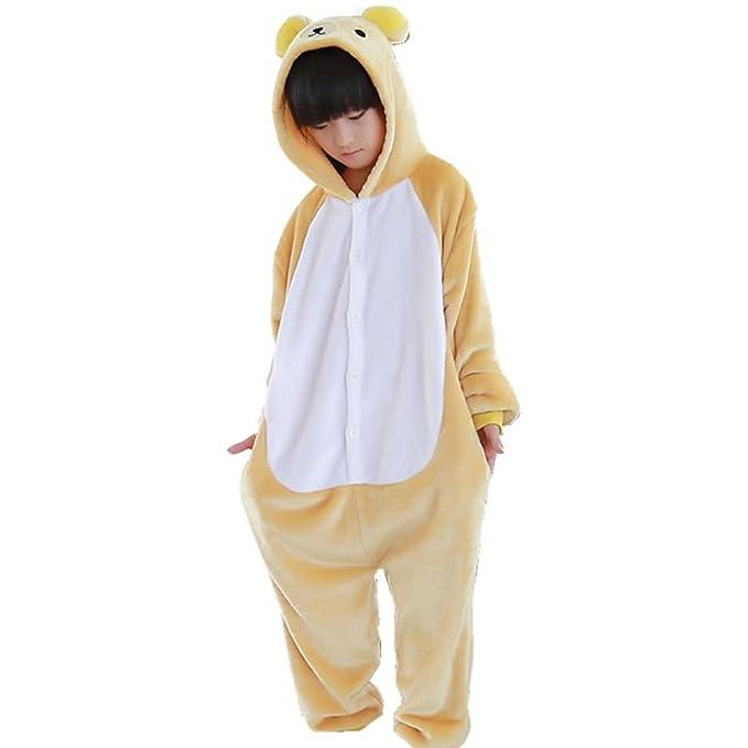 MTANGBAO Winter Children Flannel Animal Pajamas Set Sleepwear Cosplay Costume (S/100, Bear