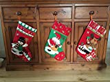 """20"""" (3 Pack) Plush 3D Applique Style Felt Christmas Stockings, Detailed Designs, Embroidered Edges, Hanging Loops, Includes Santa, Snowman and a Reindeer"""
