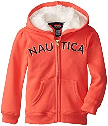 Nautica Little Girls\' Toddler Signature Fleece with Eyelash Lining, Dark Coral, 2T