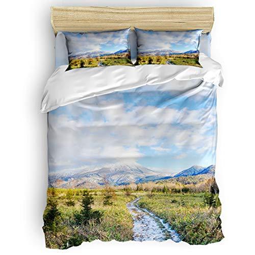 CHARMHOME Duvet Cover Set King Size - Hokkaido Natural Alpine Landscape Wallpaper Soft 4 Piece Bedding with Sheet Set and 2 Decorative Pillows Shams - No Comforter