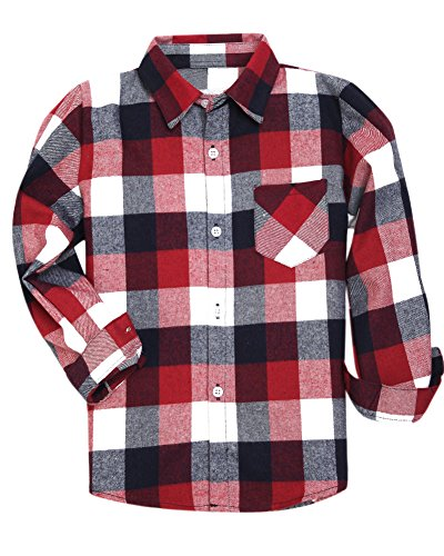 (Little Boys Long Sleeves Button Down Plaid Flannel Shirt Tops, Red, Age 2T-3T (2-3 Years) = Tag 100)