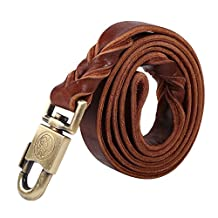 Soft Leather Dog Leash, Big Dog Training Walking Collar & Leash Braided Pet Chain Dogs Leads Rope Color Brown(2.5*150CM)