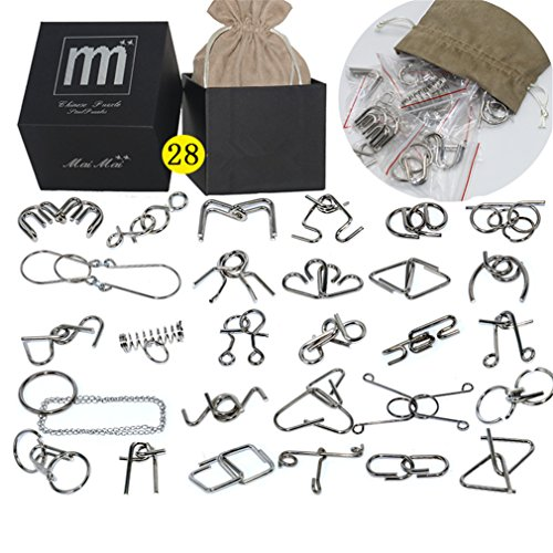Intermediate Difficulty - 28 Pieces Metal Wire Brain Teaser - Assembly & Disentanglement Puzzles Toys - Magic Trick Toys Puzzles Set - Ideal Gifts Kids ()