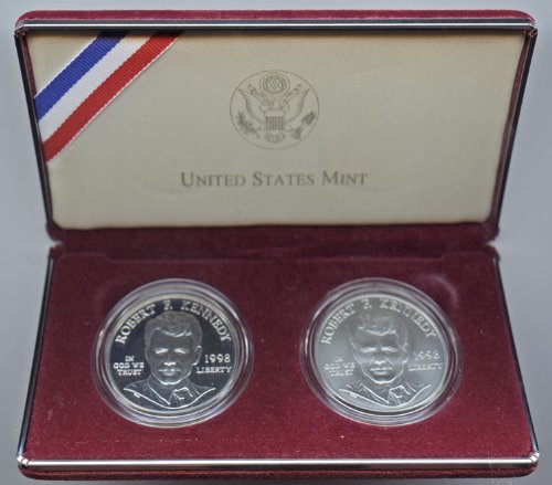 (1998 Robert F. Kennedy 2-Coin Proof and BU Silver Dollar Commemorative Set)