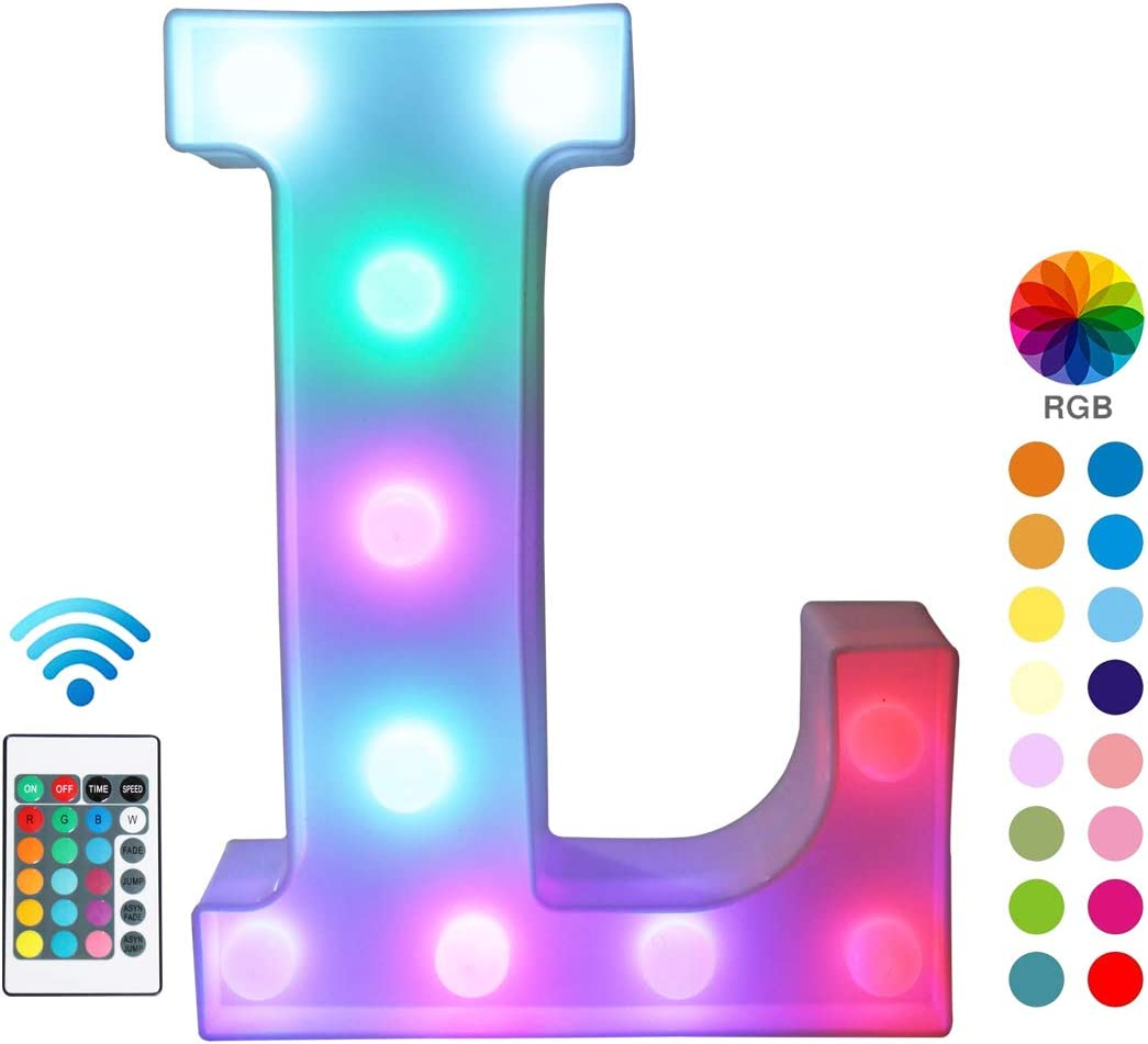 Pooqla Colorful LED Marquee Letter Lights with Remote – Color Changing Light Up Alphabet Signs – Party Bar Letters with Lights Decorations for The Home - Multicolor L