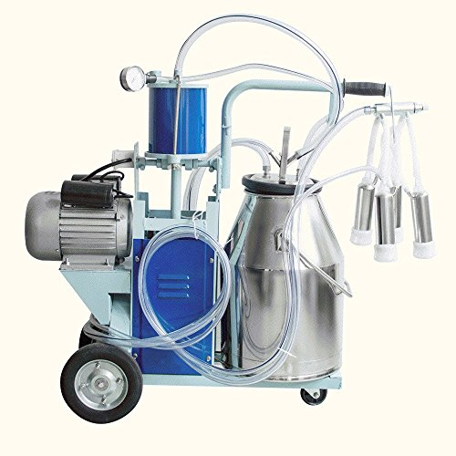 Capacity Farm (Finlon Electric Milking Machine Portable Milker 25L Bucket Capacity 304 Stainless Steel Bucket For Farm Cows Cattle110V)