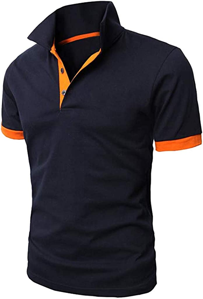 VOWUA Mens Polo Shirts Personality Short Sleeve Shirts Casual Solid Color Pullovers Shirts