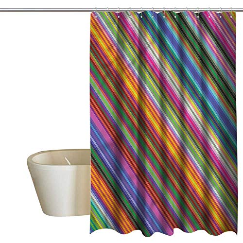 RenteriaDecor Shower Curtains Brown and White Colorful,Narrow Diagonal Stripes,W108 x L72,Shower Curtain for Small Shower stall