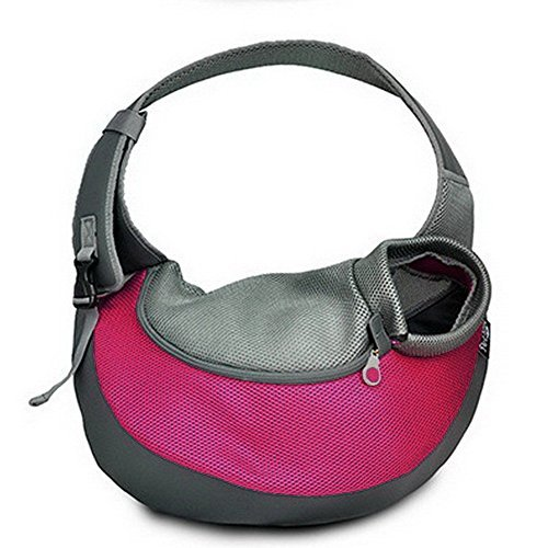 BIG WING Pet Sling Carrier for Dog Cat Pets Travel Shouder Bags, Rose Red Large Size