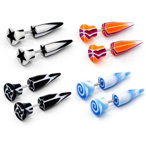 CrazyPiercing 8Pcs Mixed Colors 16G Acrylic Screw Stud Illusion Cheater Fake Tapers Earrings Gauges Set