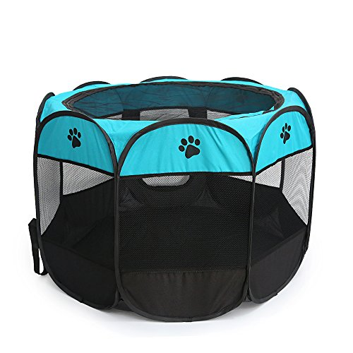 HENREK Pet Dog Cat Playpen Cage Crate – Portable Folding Exercise Kennel – Indoor & Outdoor Use (L (35″Dia x 24″H), Bluish Green)