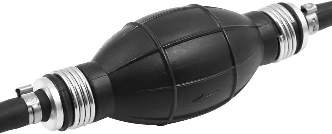 X AUTOHAUX 6mm Black Outboard Boat Car Fuel Gas Hose Line with Primer Bulb