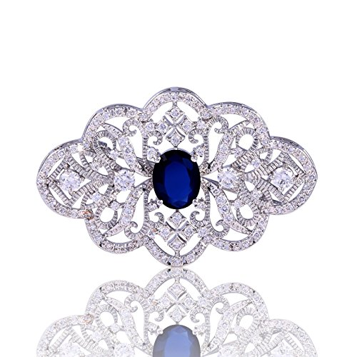 GULICX Royal Brooch Art Deco Silver Plated Base Art Deco Blue Cubic Zirconia Sapphire Color Pin for Women (Blue Brooch Plated)