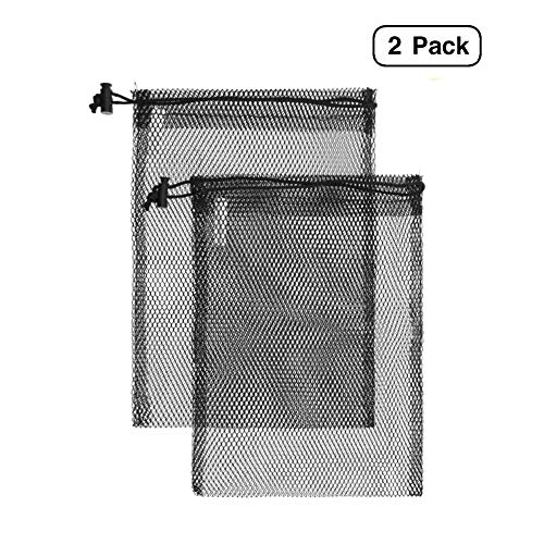 Linen and Bags Stuff Sack 15 x 22 Nylon Mesh Bag Ditty for Camping, Traveling, Gym, Storage with Drawstring 2 Pack (Black)