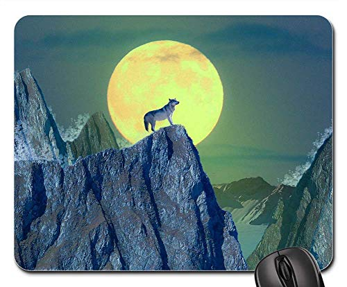 Mouse Pad - Wolf Moon Mountain Animal Wild Nature Night]()