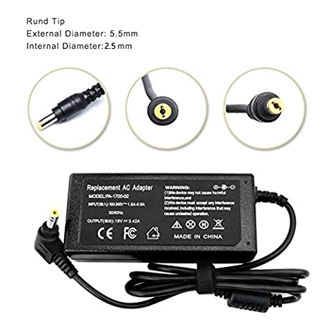 CANRY 65W Laptop Charger AC Adapter for Acer-Aspire5517 5532 E15 ES1 E1 E5; E1-571 E5-575G E1-510P E1-521 E3-111 E5-511P E5-521 E5-522 E5-551 E5-571 E5-573G ES1-111M ES1-411 ES1-511 (Aspire E5 511)