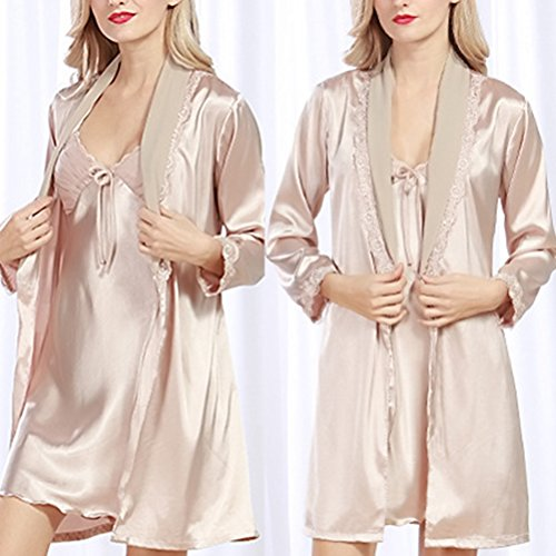 Zhuhaitf Premium Women's Silk Stain Nightdress Set Lace Trim Nightgown Sleepwear Camel