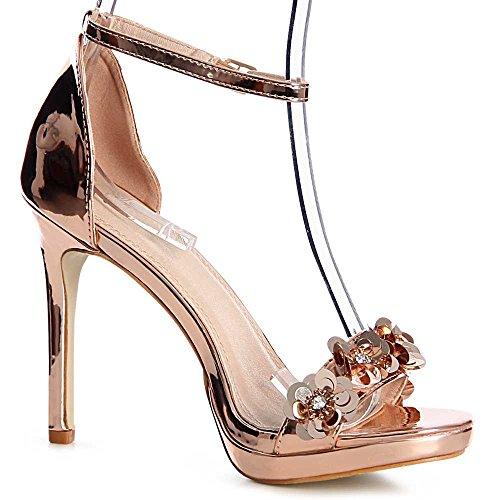 topschuhe24 - Zapatos de vestir para mujer Rose Gold
