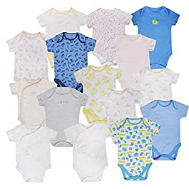 Baby Boys Girls 5 Pack Bodysuits EX M&S Cotton 0-36M Short Sleeve Vests New