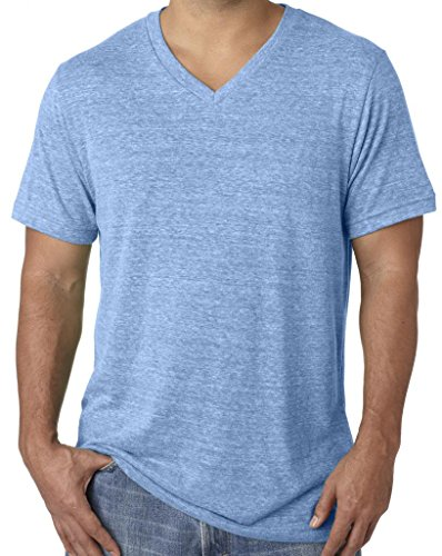 Mens Tri Blend V-neck Tee Shirt, XL Blue Triblend - Will Blend T-shirt