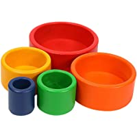 TOYANDONA 5Pcs Wooden Stacking Toy Rainbow Stacking Cup Toys Colorful Nesting Bowls Educational Learning Toys for Kids…