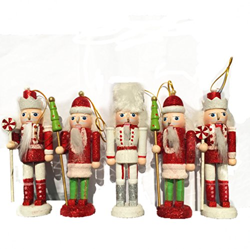 Aimeart 5″ Christmas Nutcracker Soldier Gift Hanging Wooden Nutcracker Puppets Toys Holiday Decor Christmas Decoration Ornament, Set of 5 Pcs