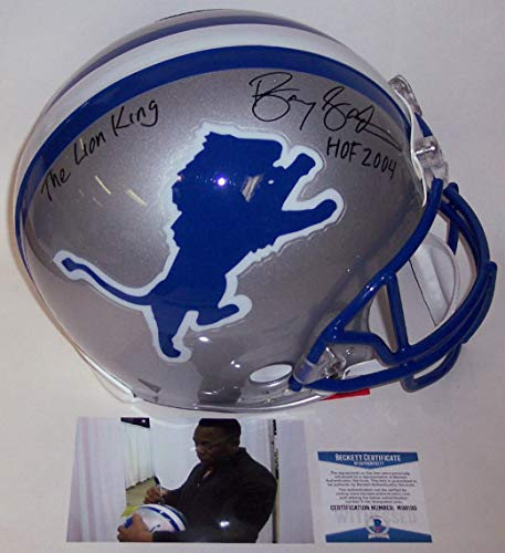 2004 Authentic Throwback Helmet - Barry Sanders Autographed Hand Signed Riddell Detroit Lions Throwback Full Size Authentic Pro Football Helmet - with Hall of Fame 2004 and The Lions King inscriptions - BAS Beckett Authentication